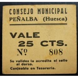 España 25 Cts. 1937. PEÑALBA-(Hu). EBC+. (Cartoncillo color hueso). (Consejo). RARISIMO/A. LGC. 1097 B - TURR. No