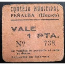 España 1 Ptas. 1937. PEÑALBA-(Hu). BC+/MBC-. (Cartoncillo). (Consejo). RARISIMO/A. LGC. 1097 D - TURR. No