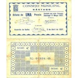 España 1 Ptas. 1937. SASTAGO-(Z). MBC-. (Pqñas.roturitas). (Consejo-Serie C). RARO/A. LGC. 1337 A