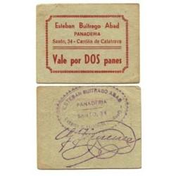 España Vale. 1937. CARRION DE CALATRAVA (CR). EBC+. Cartoncillo verde-Vale por DOS panes. PANADERIA Esteban Buitrago. MUY RARO/A