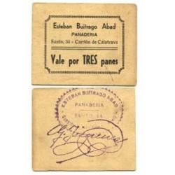 España Vale. 1937. CARRION DE CALATRAVA (CR). EBC+. PANADERIA Esteban Buitrago. MUY RARO/A