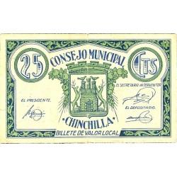 España 25 Cts. 1937. CHINCHILLA (AB). MBC+. (Doblez.Insig.roturita). (Consejo). MUY RARO/A. LGC. 578 A
