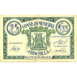 España 25 Cts. 1937. CHINCHILLA (AB). MBC+. (Doblez). (Consejo). MUY RARO/A. LGC. 578 A