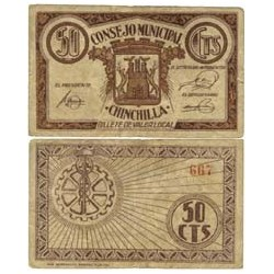 España 50 Cts. 1937. CHINCHILLA (AB). MBC+. (Consejo). RARO/A. LGC. 578 B
