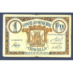 España 1 Ptas. 1937. CHINCHILLA (AB). MBC-. (Doblez). (Consejo). RARO/A. LGC. 578 C