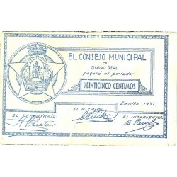 España 25 Cts. 1937. CIUDAD REAL (CR). MBC-. (Rotura). (Consejo-Serie B). LGC. 529 A