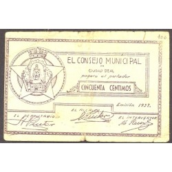 España 50 Cts. 1937. CIUDAD REAL (CR). BC+/MBC-. (Roturitas). (Consejo-Serie B). LGC. 529 B