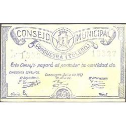 España 50 Cts. 1937. CONSUEGRA-(TO). SC-. (Muy lev.manchitas rev.). (Consejo-Serie B). MUY RARO/A. y mas asi. LGC. 544 B