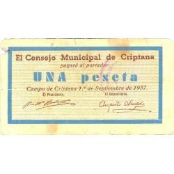 España 1 Ptas. 1937. CRIPTANA (CR). MBC-. (Manchitas de tinta en rev. Pqña.falta). (2ª Emision). (Consejo-Serie A). MUY RARO/A