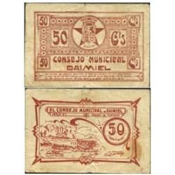 España 50 Cts. 1937. DAIMIEL (CR). MBC-. (Insig.roturitas.Manchita). (Impr.en marron). (Consejo-Serie C). MUY RARO/A. LGC. 585