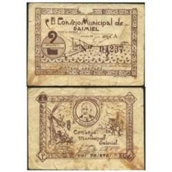 España 2 Ptas. 1937. DAIMIEL (CR). MBC-. (Manchitas). (Consejo-Serie A). MUY RARO/A. LGC. 585 D