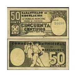 España 50 Cts. 1937. MANZANARES (CR). SC-. (Nuevo con lev.doblez). (Consejo-Serie B). LGC. 881 B