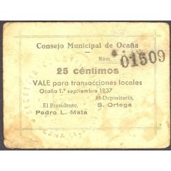 España 25 Cts. 1937. OCAÑA-(TO). MBC. (Consejo). MUY RARO/A. LGC. 1012 A