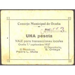 España 1 Ptas. 1937. OCAÑA-(TO). MBC+. (Consejo). MUY RARO/A. LGC. 1012 C
