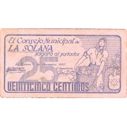 España 25 Cts. 1937. SOLANA-LA-(CR). SC-/EBC+. (Consejo-Serie A). MUY RARO/A. y mas en esta conservacion. LGC. 1375 A