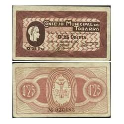 España 25 Cts. 1937. TOBARRA (AB). SC-. (Consejo). LGC. 1425 C