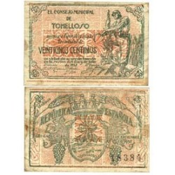 España 25 Cts. 1937. TOMELLOSO-(CR). MBC+. (Manchitas). (Consejo). MUY ESCASO/A. LGC. 1429 D