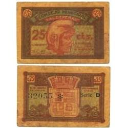 España 25 Cts. 1937. VALDEPEÑAS-(CR). MBC. (Consejo-Serie A). LGC. 1505 A