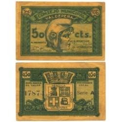 España 50 Cts. 1937. VALDEPEÑAS-(CR). EBC. (Consejo-Serie A). LGC. 1505 B