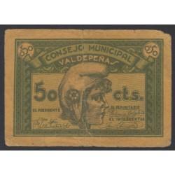 España 50 Cts. 1937. VALDEPEÑAS-(CR). MBC-/BC+. (Pqñas.roturitas). (Consejo-Serie A). LGC. 1505 B