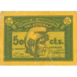 España 50 Cts. 1937. VALDEPEÑAS-(CR). MBC. (Rotura). (Consejo-Serie A). LGC. 1505 B