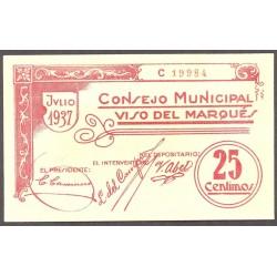 España 25 Cts. 1937. VISO DEL MARQUES-(CR). SC. (Consejo). RARO/A. y mas asi. LGC. 1642 A