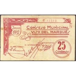 España 25 Cts. 1937. VISO DEL MARQUES-(CR). MBC. (Pqña.roturita por doblez). (Consejo-Serie C). RARO/A. LGC. 1642 A
