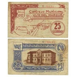 España 25 Cts. 1937. VISO DEL MARQUES-(CR). MBC+. (Lev.manchita). (Consejo-Serie C). RARO/A. LGC. 1642 A