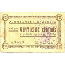 España 25 Cts. 1937. ABRERA-(B). MBC. (Ayuntamiento). ESCASO/A. TU. 5 - LGC. 7 A