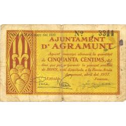 España 50 Cts. 1937. AGRAMUNT-(L). BC+/MBC-. (Doblez y manchiota de tinta). (Ayuntamiento). ESCASO/A. TU. 13 - LGC. 16 C