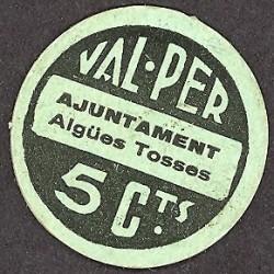 España 5 Cts. 1937. AIGUES TOSSES DEL LLOBREGAT-(B). SC. (Ayuntamiento). RARO/A. TU. 51/36:5 - LGC. 28 G