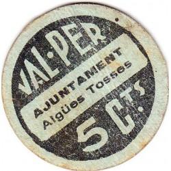 España 5 Cts. 1937. AIGUES TOSSES DEL LLOBREGAT-(B). MBC+. (Ayuntamiento). RARO/A. TU. 51 - LGC. 28 G