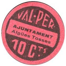 España 10 Cts. 1937. AIGUES TOSSES DEL LLOBREGAT-(B). SC. (Ayuntamiento). RARO/A. TU. 50 - LGC. 28 H