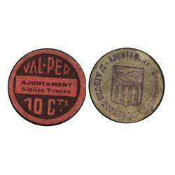 España 10 Cts. 1937. AIGUES TOSSES DEL LLOBREGAT-(B). EBC+. (Ayuntamiento). RARO/A. TU. 50 - LGC. 28 H