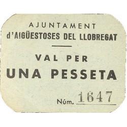 España 1 Ptas. 1937. AIGUES TOSSES DEL LLOBREGAT-(B). EBC+/SC-. (Nuevo con lev. marquita). (Ayuntamiento). MUY RARO/A. TU. 48