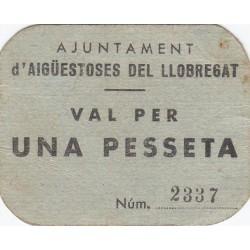 España 1 Ptas. 1937. AIGUES TOSSES DEL LLOBREGAT-(B). MBC+/EBC-. (Cartulina). (Ayuntamiento). MUY RARO/A. TU. 48 - LGC. 28 K