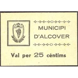 España 25 Cts. 1937. ALCOVER-(T). SC. (Sin Sell.tamp.)-Carton blanco. (Municipio). MUY RARO/A. y mas asi. TU. 110 - LGC. 90 C