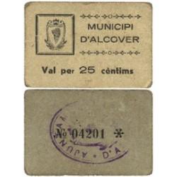 España 25 Cts. 1937. ALCOVER-(T). EBC+. (Municipio). MUY RARO/A. TU. 110 - LGC. 90 C