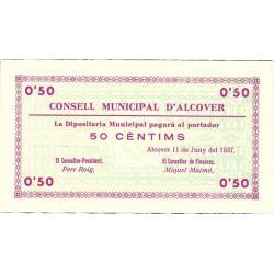 España 50 Cts. 1937. ALCOVER-(T). SC. (Serie B-Consejo). RARO/A. TU. 109 - LGC. 90 D