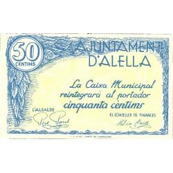 España 50 Cts. 1937. ALELLA-(B). SC. (Ayuntamiento). TU. 117 - LGC. 102 B