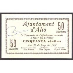 España 50 Cts. 1937. ALIO-(T). SC-. (Nuevo con lev.marquita esquina). (Serie A-Ayuntamiento). RARO/A. TU. 150 - LGC. 127 A