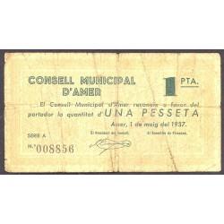 España 1 Ptas. 1937. AMER-(Gi). MC+/RC-. (Firma estampillada). (Serie A-Consejo). TU. 187 a - LGC. 162 B