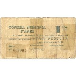 España 1 Ptas. 1937. AMER-(Gi). MC+/RC-. (Roturas reparadas con cinta add.). (Firma estampillada). (Serie A-Consejo). TU. 187
