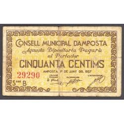 España 50 Cts. 1937. AMPOSTA-(T). MBC-. (Serie B-Consejo). TU. 212 - LGC. 166 C