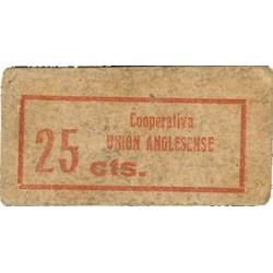España 25 Cts. 1937. ANGLES-(Gi). EBC/EBC+. (Carton). (Coop.Union Anglesense). ESCASO/A. LO. 2191