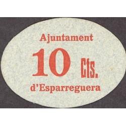 España 10 Cts. 1937. ESPARRAGUERA-(B). SC. (Ayuntamiento). RARISIMO/A. y mas en esta calidad. TU. 1077 a - LGC. 611 E