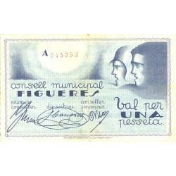 España 1 Ptas. 1937. FIGUERES-(Gi). MBC+. (Consejo-Serie A). TU. 1172 - LGC. 644 B