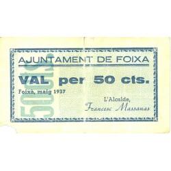 España 50 Cts. 1937. FOIXA-(Gi). MBC-/BC+. (Rotura y falta esq.). (Ayuntamiento). TU. 1199 - LGC. 654 A
