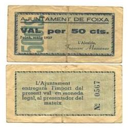 España 50 Cts. 1937. FOIXA-(Gi). MBC-. (Doblez). (Ayuntamiento). TU. 1199 - LGC. 654 A