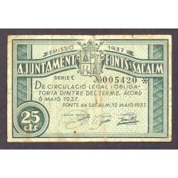 España 25 Cts. 1937. FONS DE SACALM-(Gi). MBC-. (Casi inap.doblez). (Sello en seco). (Ayuntamiento-Serie C). TU. 1211 - LGC. 6
